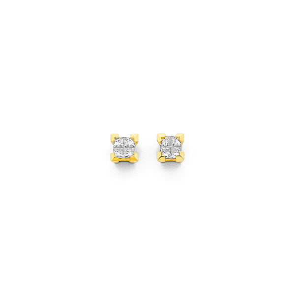 9ct Gold Diamond Princess Cut Stud Earrings