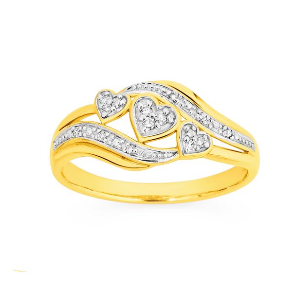 9ct Gold, Diamond Ring