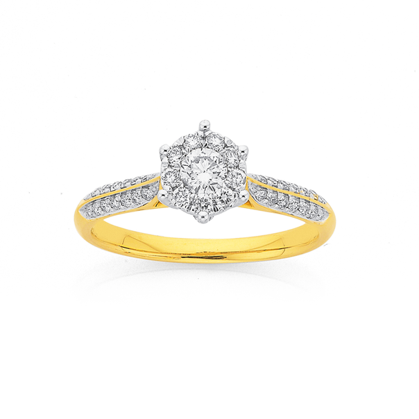9ct Gold Diamond Round Cluster Engagement Ring