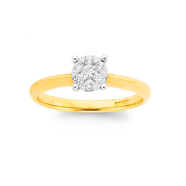 9ct Gold, Diamond Round Cluster Ring