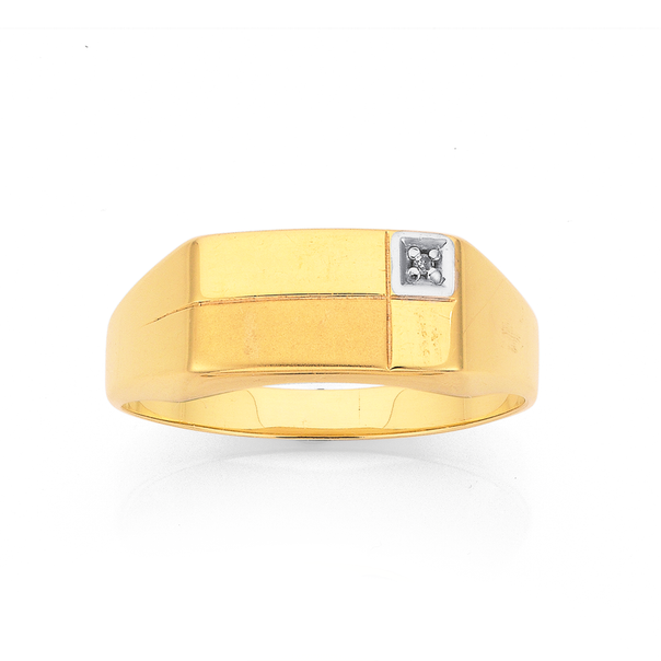 9ct Gold Diamond Set Gents Ring