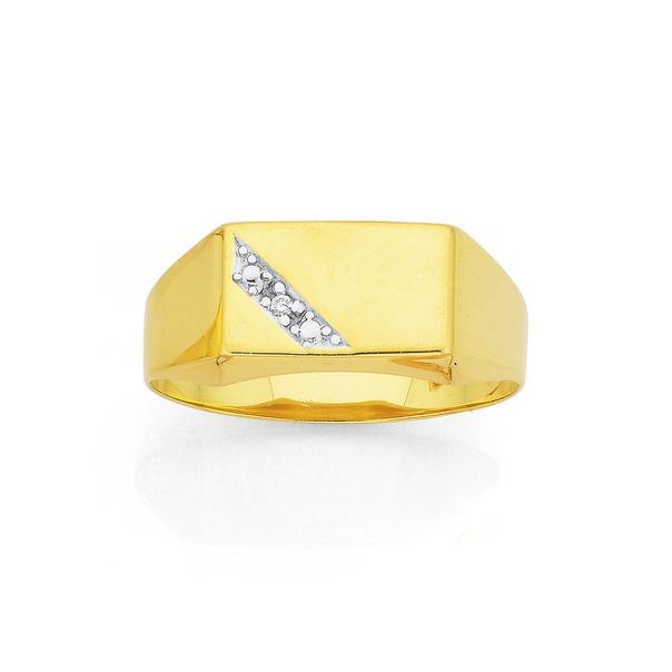 9ct Gold Diamond Set Gents Signet Ring