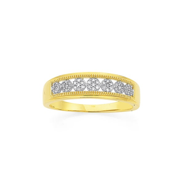 9ct Gold Diamond Seven Cluster Band