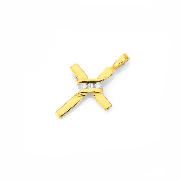 9ct Gold Diamond Small Cross Pendant