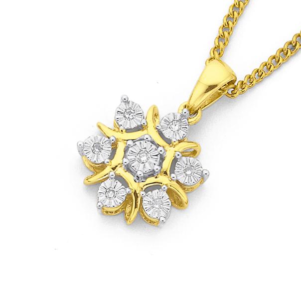 9ct Gold, Diamond Snow Flake Pendant