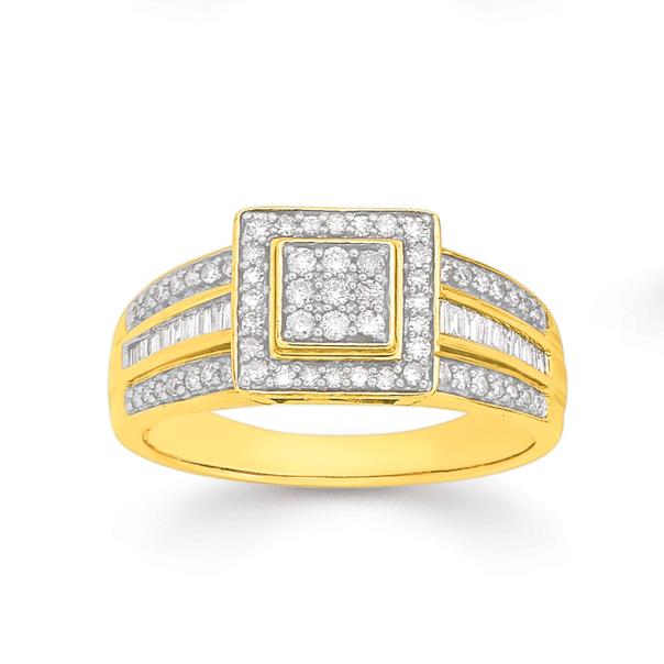 9ct Gold Diamond Square Cluster Ring TDW=.50ct
