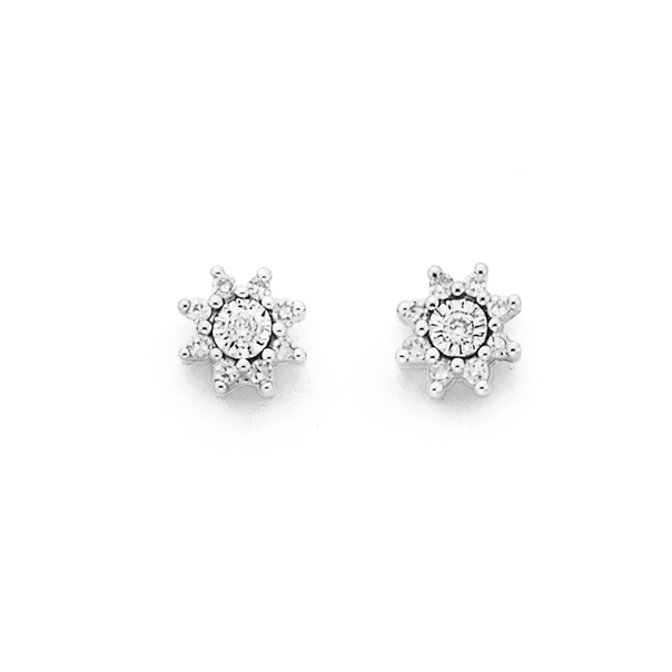 9ct Gold, Diamond Star Stud Earrings