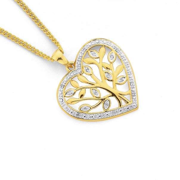 9ct Gold, Diamond Tree of Life Heart Pendant