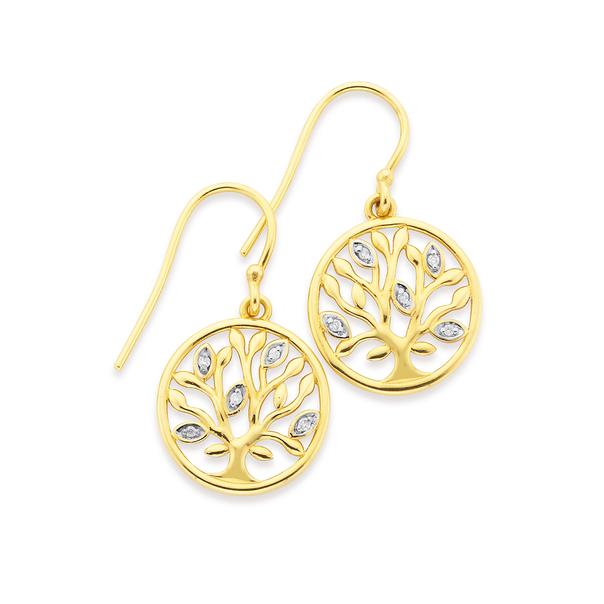 9ct Gold, Diamond Tree of Life Hook Earrings