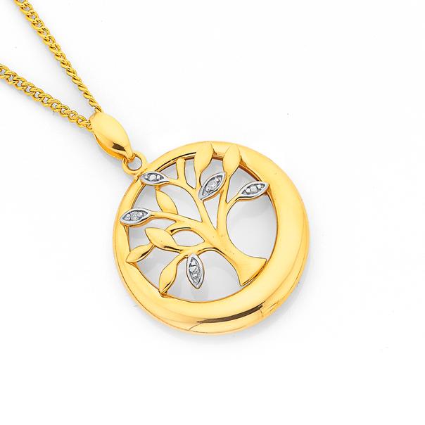 9ct Gold Diamond Tree of Life Pendant