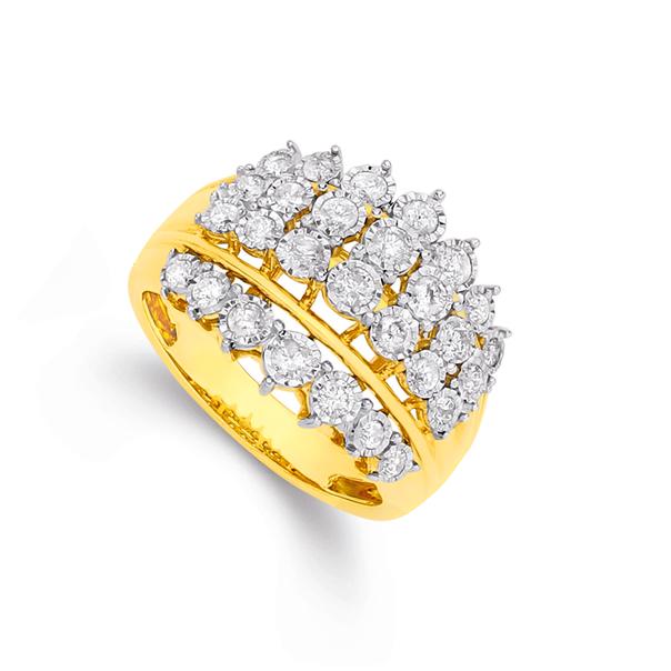 9ct Gold Diamond Wide Dress Ring