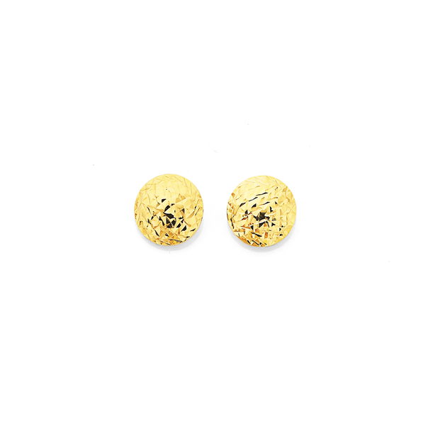 9ct Gold 9mm Dome Stud Earrings