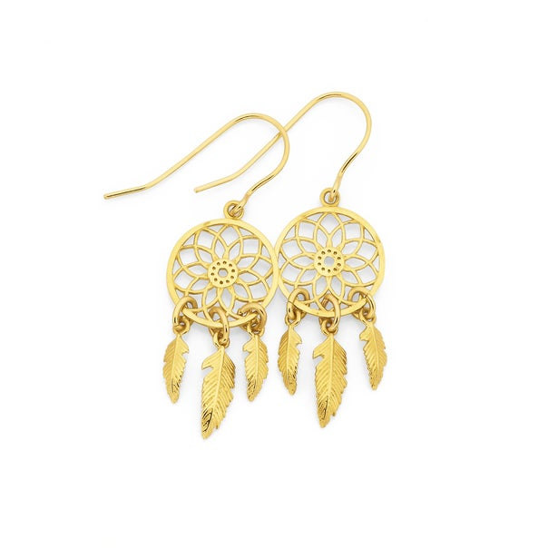 9ct Gold, Dreamcatcher Earrings