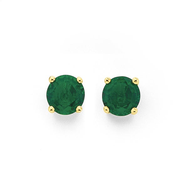 9ct Gold,, Emerald (Created) Stud Earrings