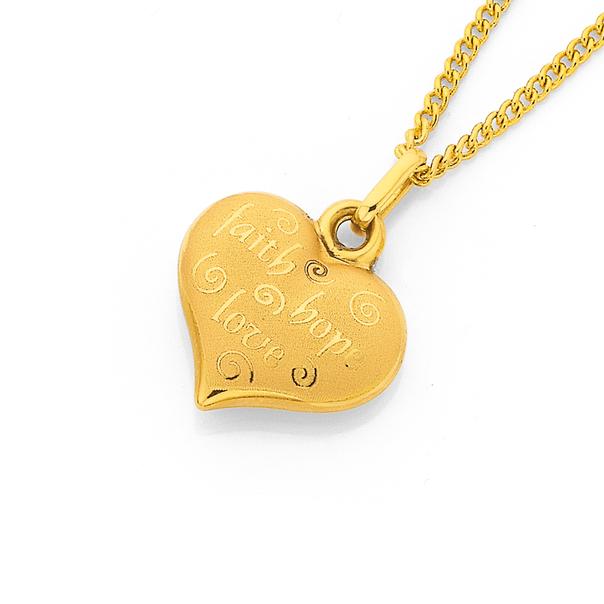 9ct Gold Faith, Love, Hope Heart Charm