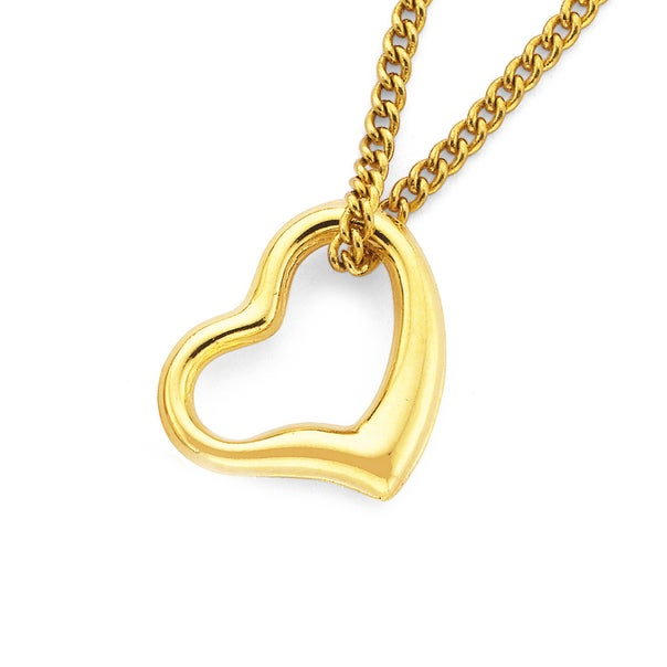 9ct Gold, Floating Heart Pendant