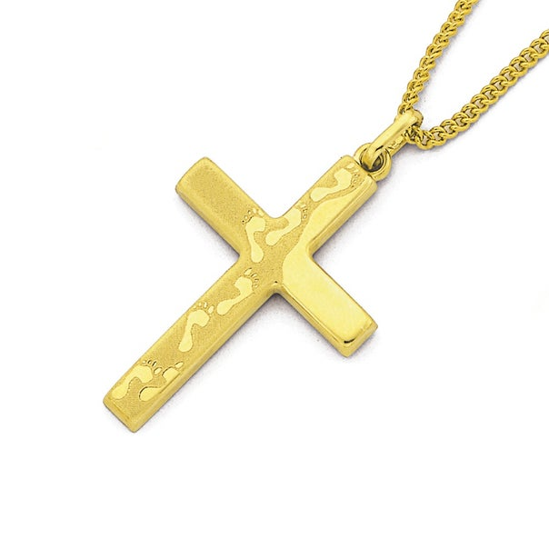 9ct Gold Footprints Cross with Verse on Back Pendant
