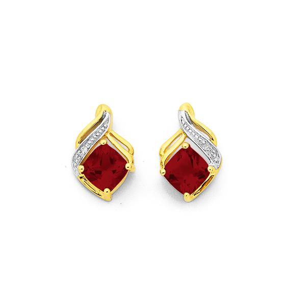 9ct Gold, Garnet & Diamond Cushion Cut Swirl Stud Earrings
