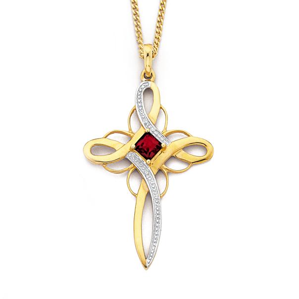 9ct Gold, Garnet & Diamond Princess Cut Cross Pendant