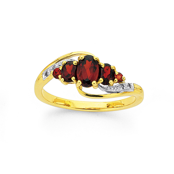 9ct Gold Garnet & Diamond Swirl Ring