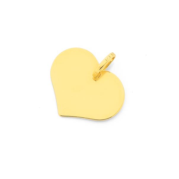 9ct Gold Heart Disc Pendant