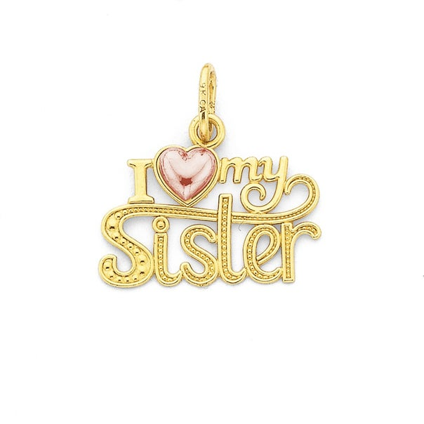 9ct Gold ' I Love My Sister' Heart Pendant