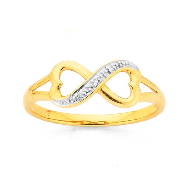9ct Gold, Infinity Diamond Ring