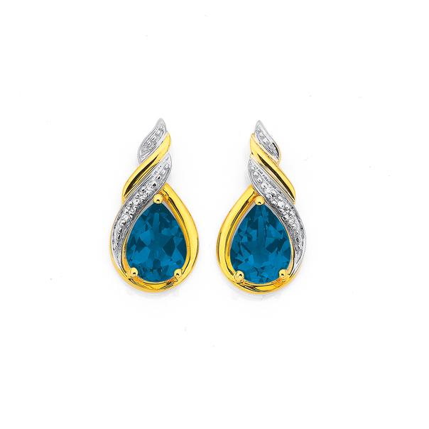9ct Gold London Blue Topaz & Diamond Stud Earrings