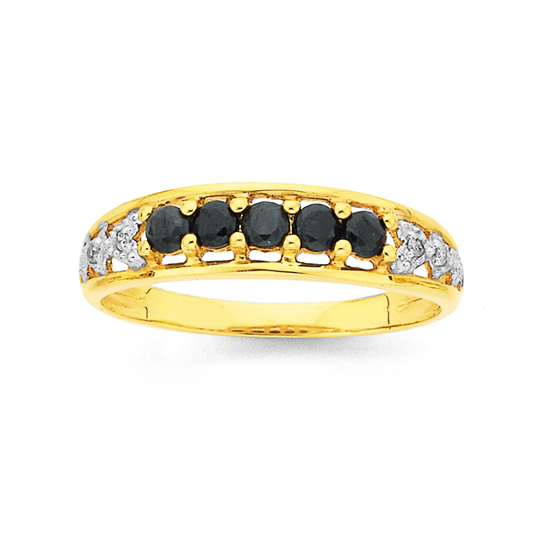 9ct Gold, Natural Sapphire and Diamond Ring