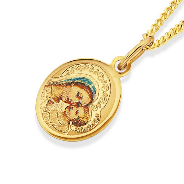 9ct Gold Oval Mother & Child Pendant