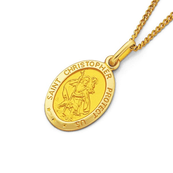 9ct Gold Oval St. Christopher Pendant