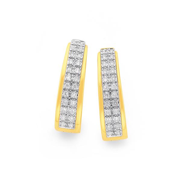 9ct Gold Pave Diamond Huggie Earrings