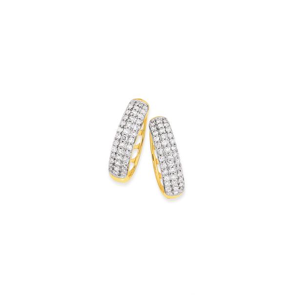 9ct Gold Pave Set Diamond Earrings TDW=.50ct