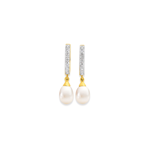 9ct Gold, Pearl & Diamond Huggie Earrings