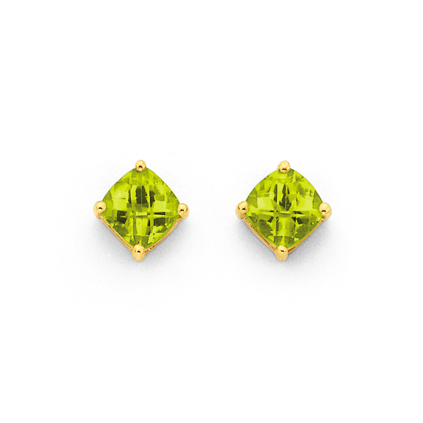 9ct Gold Peridot Cushion Cut Checkerboard Stud Earrings