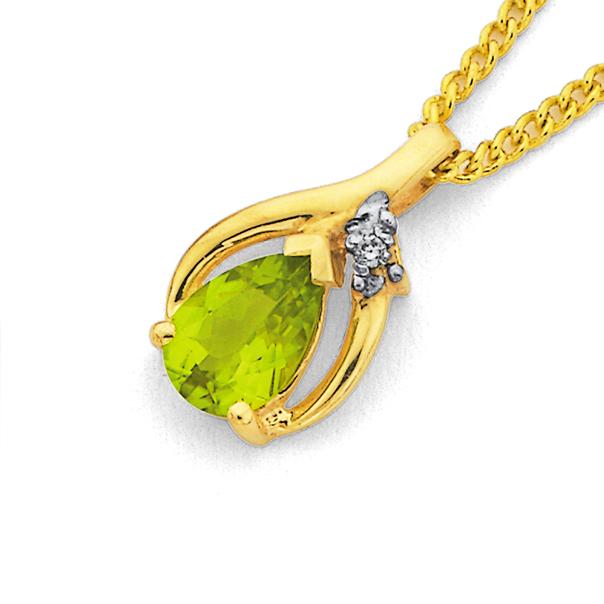 9ct Gold Peridot & Diamond Pear Pendant