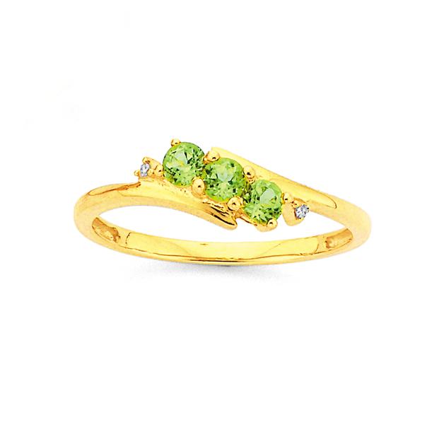 9ct Gold, Peridot & Diamond Ring