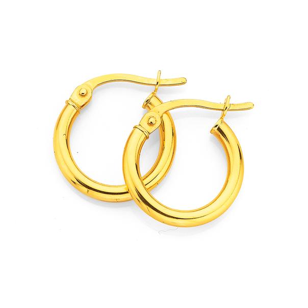 9ct Gold Polished 2x10mm Hoop Earrings