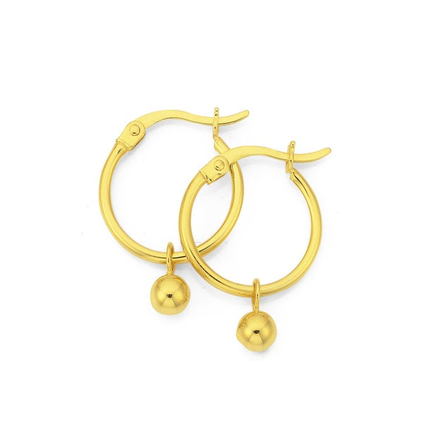 9ct Gold Polished Hoop Earrings with Ball Drops