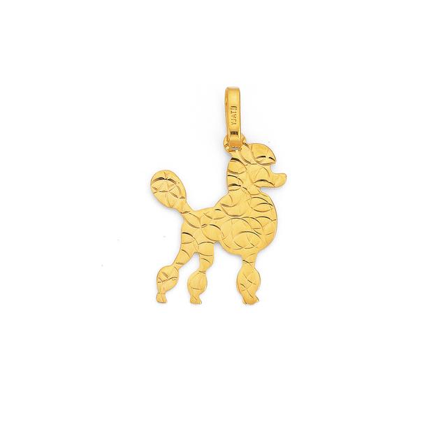 9ct Gold Poodle Dog Pendant