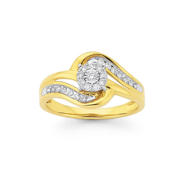 9ct Gold, Round Brilliant Cut Diamond Swirl Ring