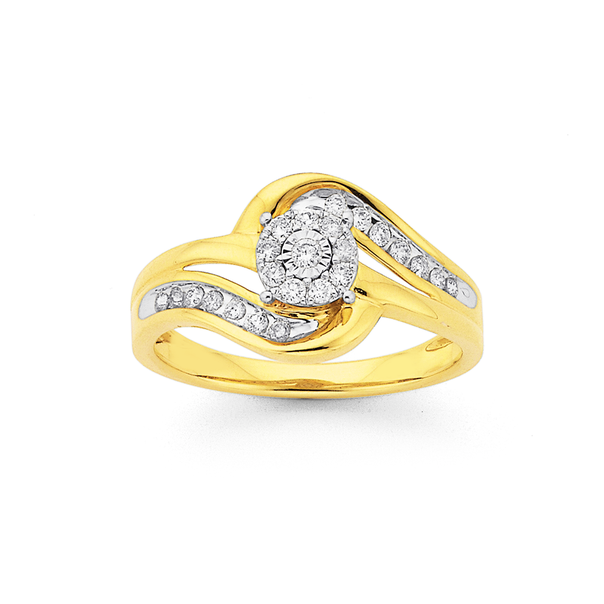 9ct Gold, Round Brilliant Cut Diamond Swirl Ring