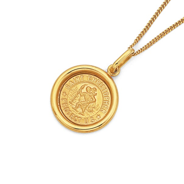 9ct Gold, Round St. Christopher Pendant