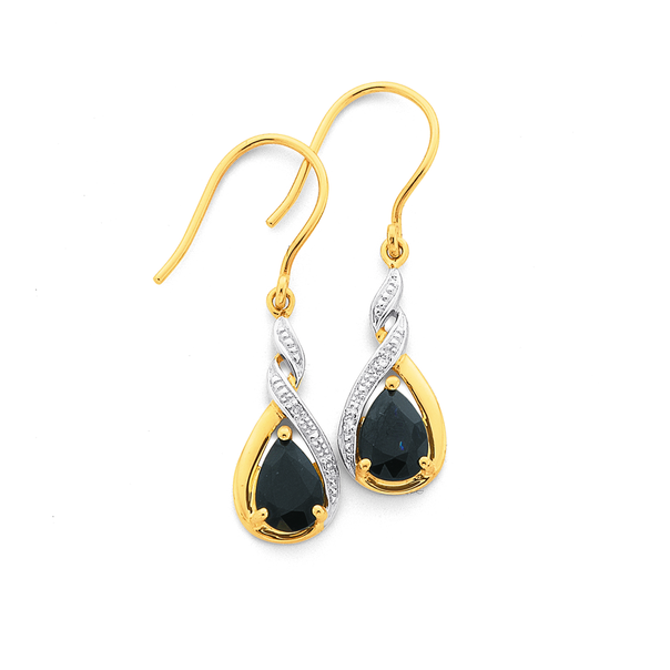 9ct Gold, Sapphire & Diamond Drop Earrings