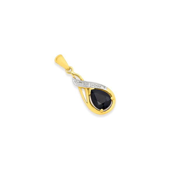 9ct Gold, Sapphire & Diamond Drop Pendant