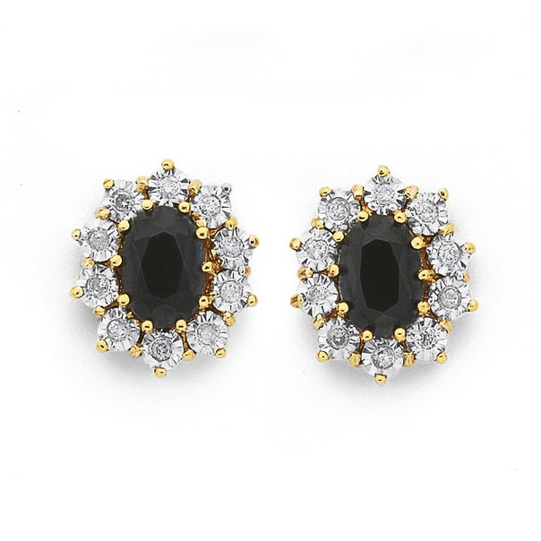 9ct Gold, Sapphire & Diamond Oval Cluster Earrings