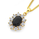 9ct Gold, Sapphire & Diamond Oval Pendant
