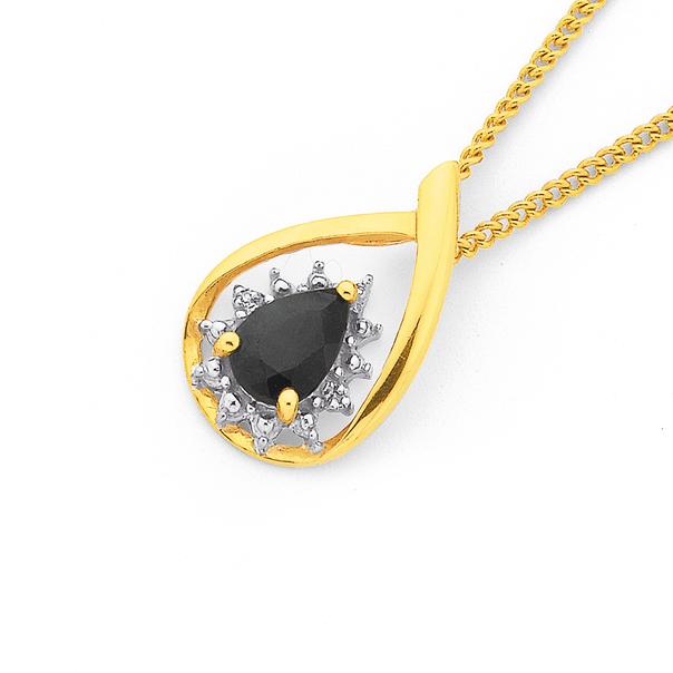 9ct Gold, Sapphire & Diamond Pear Cluster Pendant
