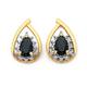9ct Gold, Sapphire & Diamond Pear Cut Cluster Earrings