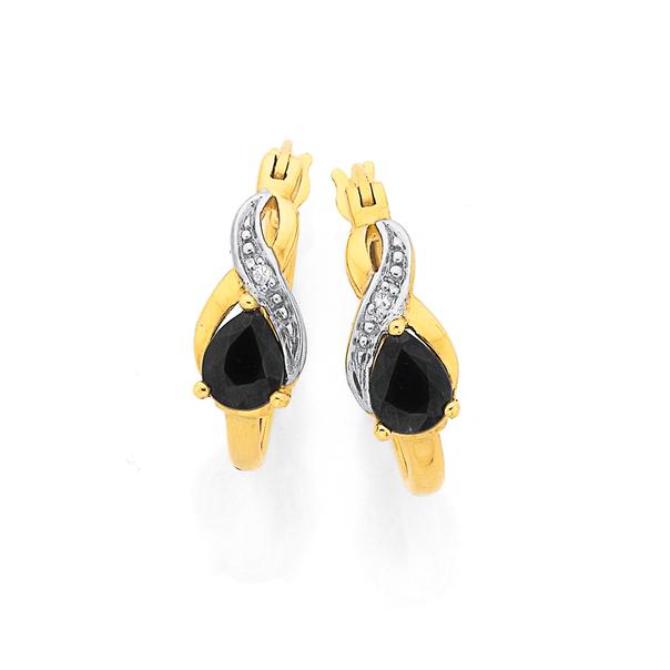 9ct Gold, Sapphire & Diamond Pear Shape Hoop Earrings